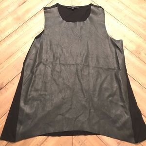 Faux leather shell top with T-shirt material back